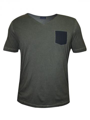 Uni Style Image Olive V Neck T-Shirt at cilory