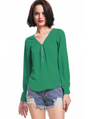 https://static2.cilory.com/111885-thickbox_default/green-zippered-v-neck-pullover-chiffon-top.jpg