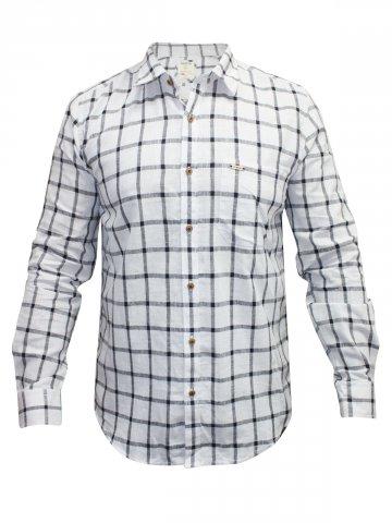 Turtle White Checks Khadi Casual Shirt at cilory