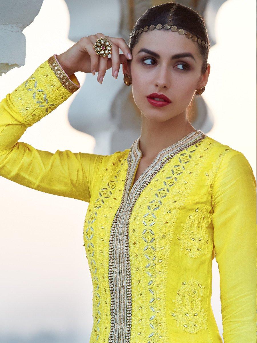 Designer Yellow Embroi...