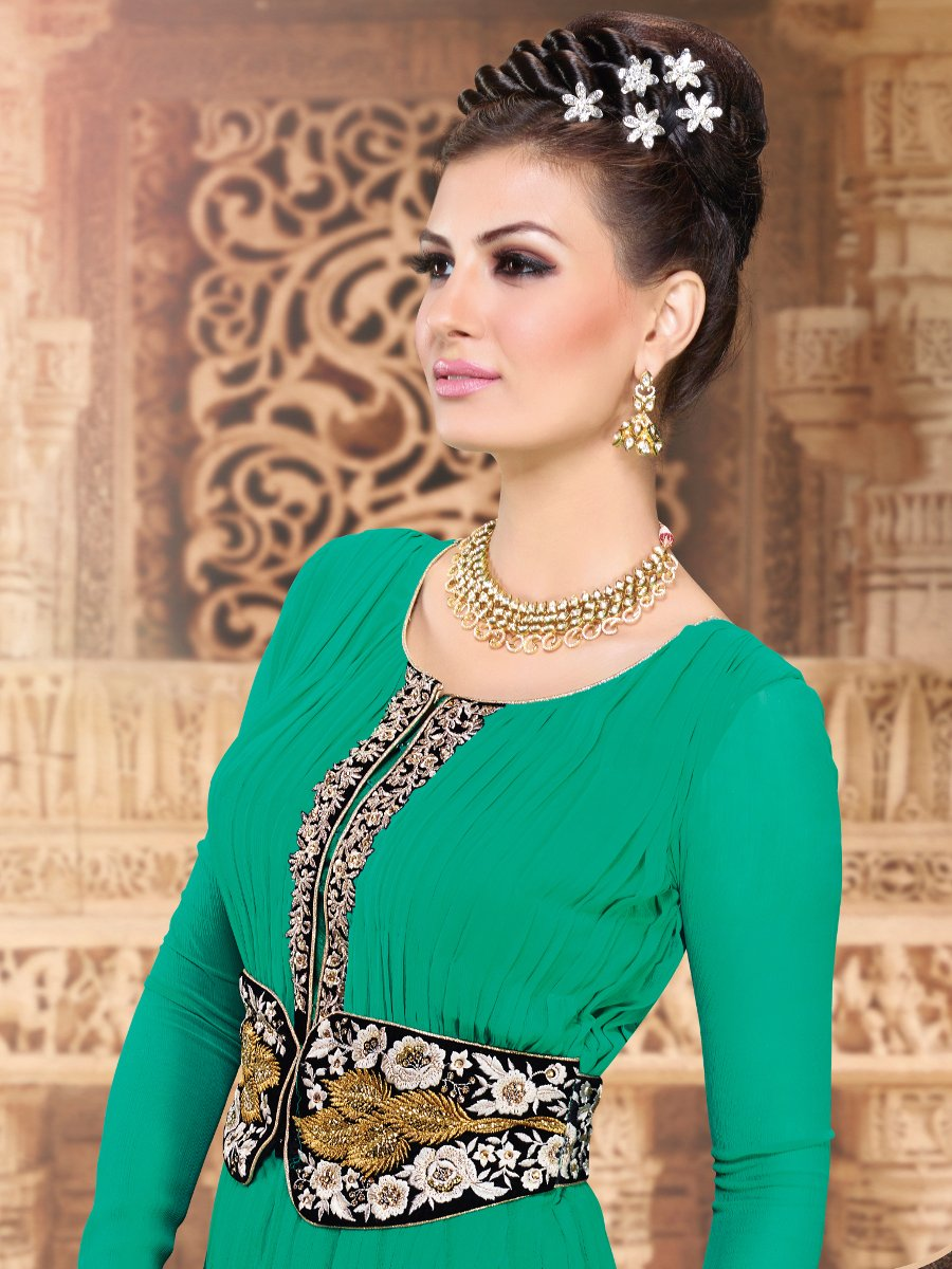 Indo Western Green Semi Stitched Suit