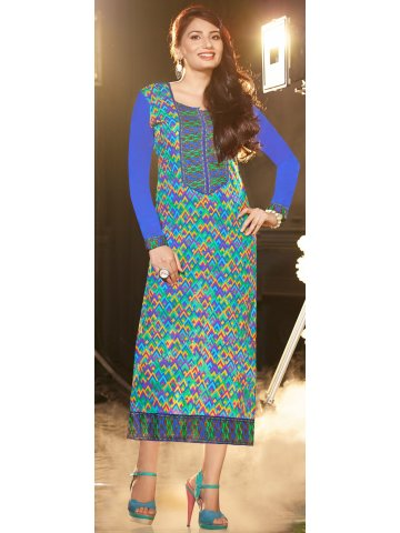 Zohra Series Blue & Green Printed Cotton Kurti at cilory