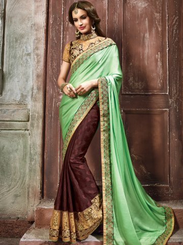https://static1.cilory.com/153090-thickbox_default/maisha-chocolate-brown-green-heavy-saree-with-stone-work-on-blouse.jpg