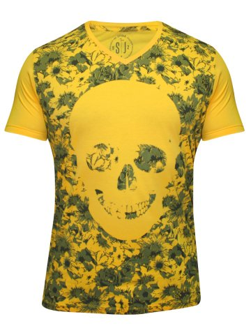 Spykar Yellow V Neck T Shirt at cilory