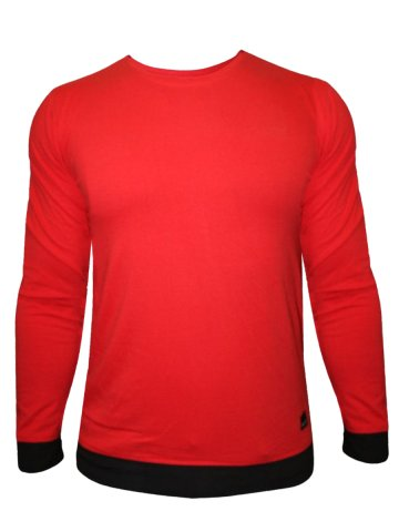 Rigo Stylish Red Tee With Black Cuffs at cilory