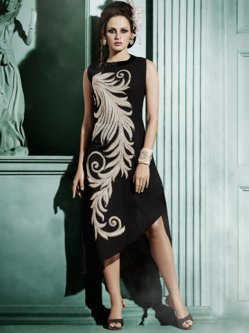 Glamour Black Designer Kurti at cilory