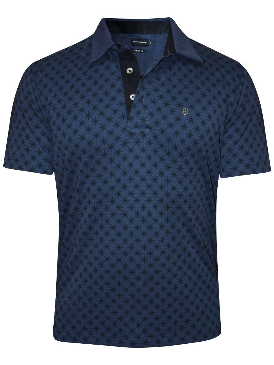 Uni style images navy printed polo t shirt inter webstar for Polo t shirt printing