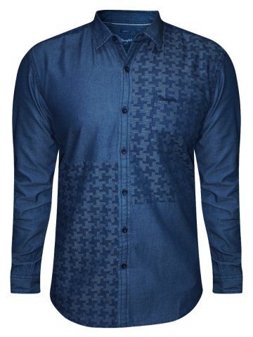 Wrangler Pure Cotton Denim Blue Shirt at cilory