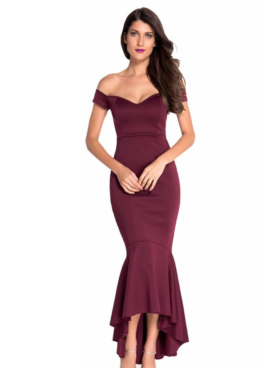 maroon off shoulder mermaid jersey evening dress e60171 1. Black Bedroom Furniture Sets. Home Design Ideas