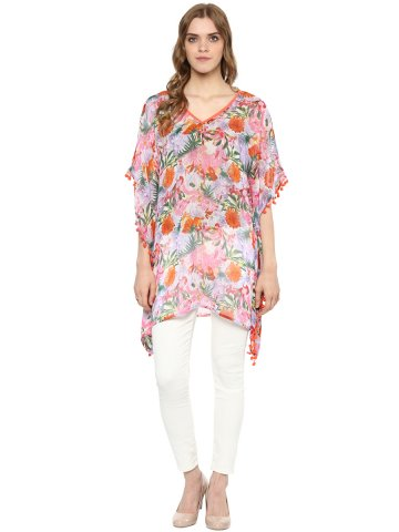 Color Cocktail Multicolor Poncho Top at cilory