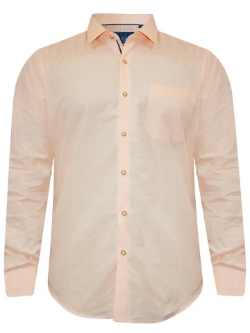 Peter England Peach Cotton Linen Shirt at cilory