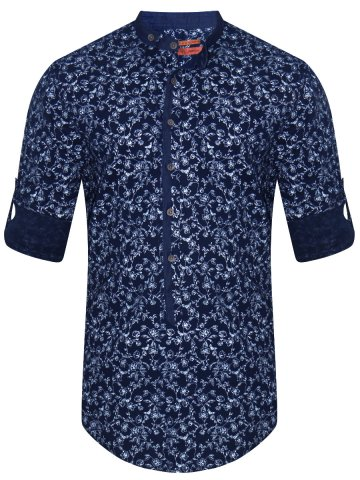 Peter England Pure Cotton Navy Printed Shirt at cilory