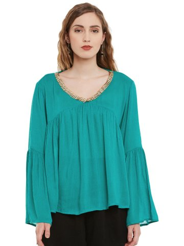 4f159f361c4aa Iknow Emerald Green Embellished Flared Sleeves Top