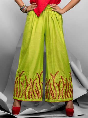 Exotic Series Lime Cotton Linen Palazzo at cilory