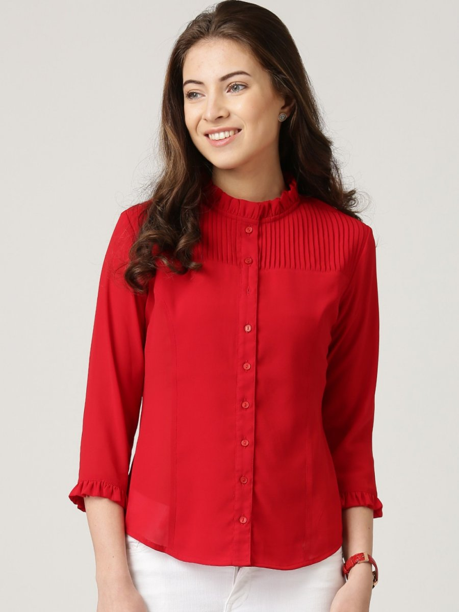 Netanya red top tpt205 for Red leather shirt for womens