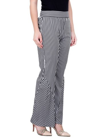 Black & White Cotton Stripes Palazzo at cilory