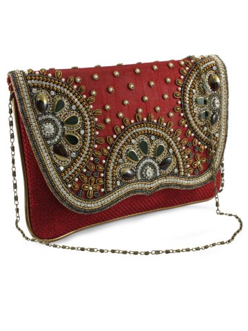 Embellished Red Clutch at cilory