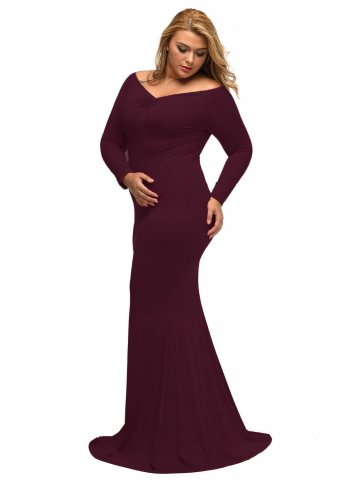 1314ef9d2c71  Wine Off-shoulder V Neck Long Sleeve Plus Long Dress.  https   static9.cilory.com 276437-thickbox default wine- View full size