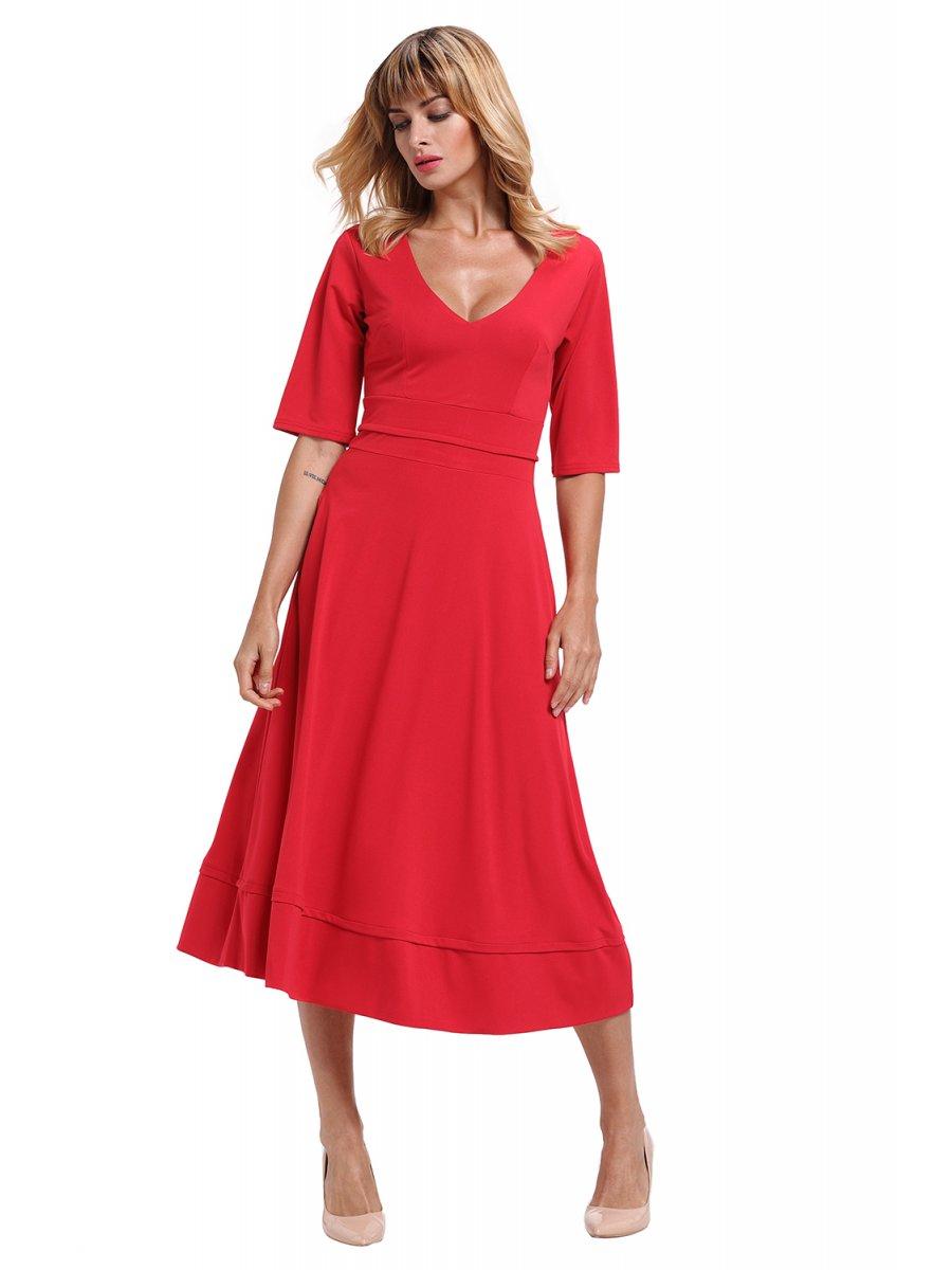 2a58626572da2 >Red Half Sleeve V Neck High Waist Flared Dress.  https://d38jde2cfwaolo.cloudfront.net/284383-thickbox_default/red- View  full size
