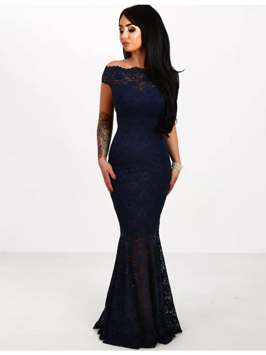 Dark Blue Lace Elegant Fishtail Party Gown For Women | V1073-1 ...