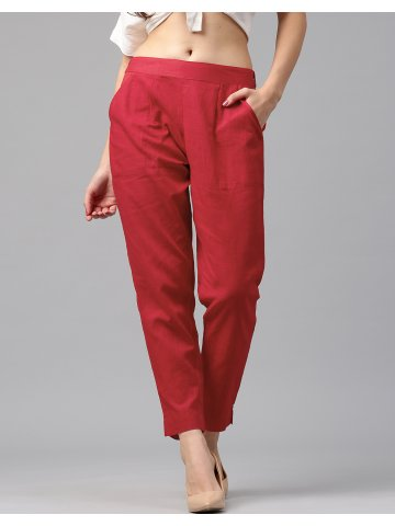 8afa7d15bd Jk Women's Cotton Slub Red Trouser Pants | Jkpat008 | Cilory.com