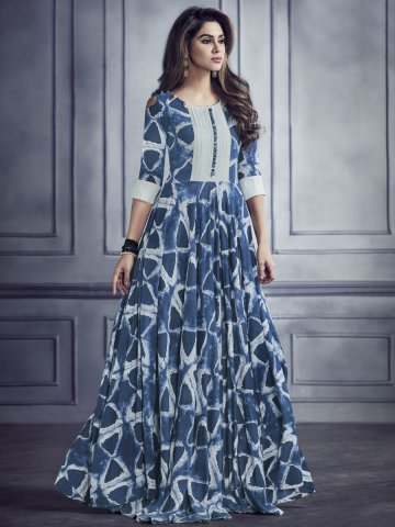 5de481a5b1 Party Wear.  Sabhyata Blue   Off White Rayon Cotton Printed Kurti.  https   static5.cilory.com 348622-thickbox default sabhyata-