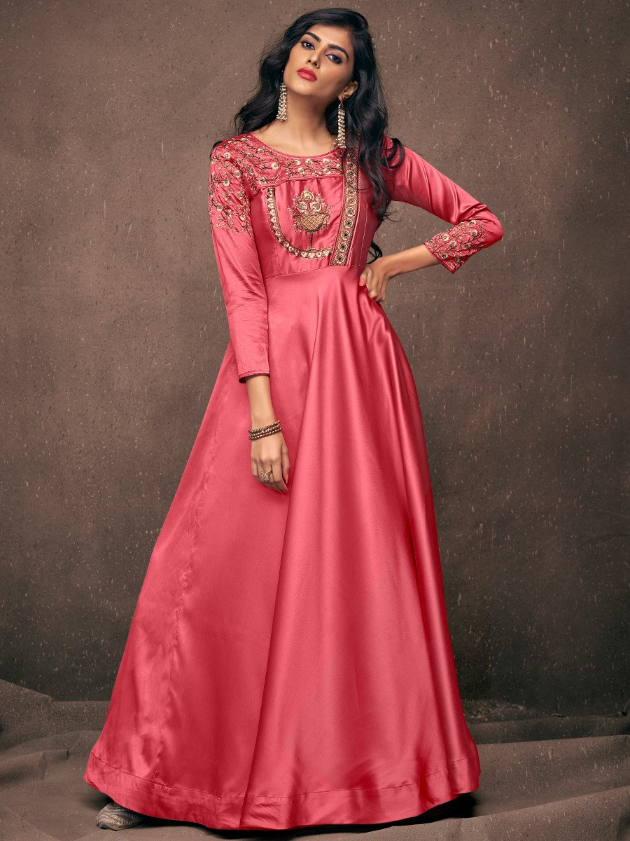 56080612bd Navya Two Tone Italian Rose Embroidered Gown