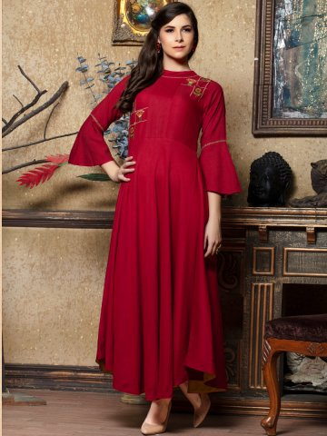 https://d38jde2cfwaolo.cloudfront.net/394533-thickbox_default/red-flared-embroidered-rayon-kurta.jpg