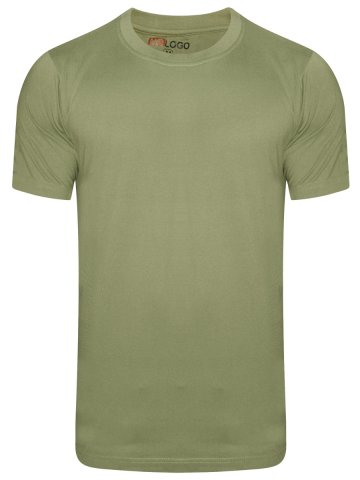 Nologo Cotton Light Olive Round Neck T-Shirt at cilory