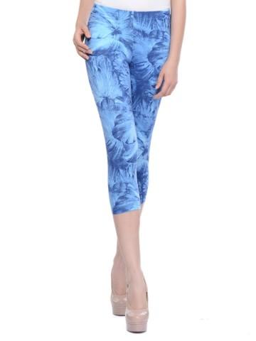Femmora Blue Capri Length Leggings at cilory
